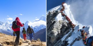 Sherpas Dragging A Body In The Snow in Mt. Everest